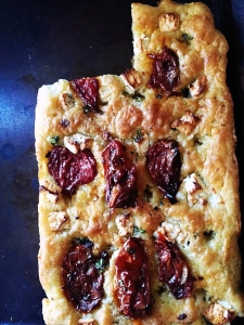 feta and dried tomato focaccia