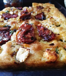 Focaccia with sun dried tomatoes and feta