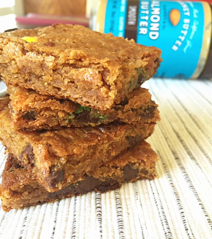 Almond butter  and m&m's blondies